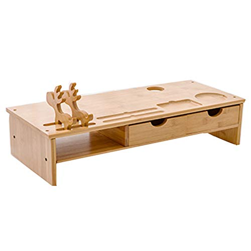Bamboo Desk Organizer Stand,with Smartphone Holder&Pen Notches Computer Monitor Riser,Ergonomic Laptop Stand,for Office Desk Accessories-A 51.3x23x13.5cm(20x9x5inch)
