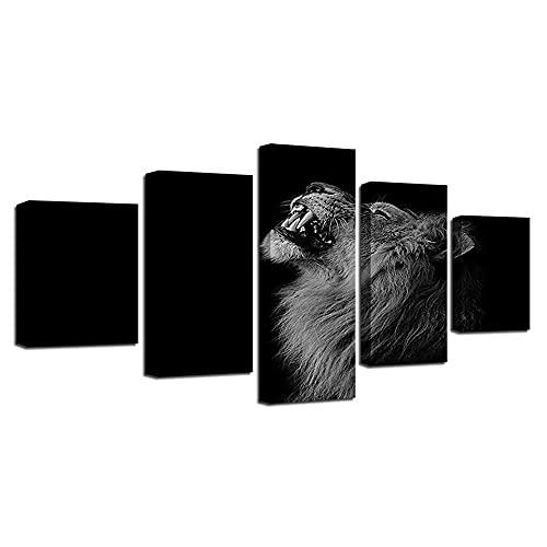 wangdazhuang 5 Lienzos Cuadros Grandes Baratos Animal León - Animal Cartel De La Decoración De Arte De La Sala De Estar con El Marco-150X80Cm