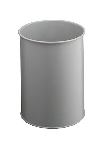 Durable 330110 - Cestino per la carta rotondo, in metallo, 15 l, con bordo antiscivolo, colore: Grigio