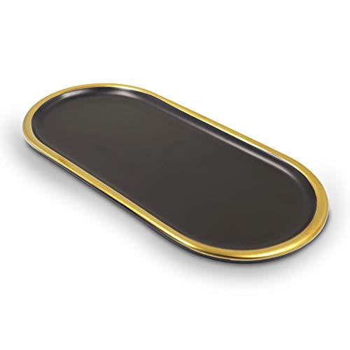 Bandeja de cerámica estilo mármol, con borde dorado para joyas, bandeja decorativa para aparador, bandeja de postre, bandeja de almacenamiento para té (negro)