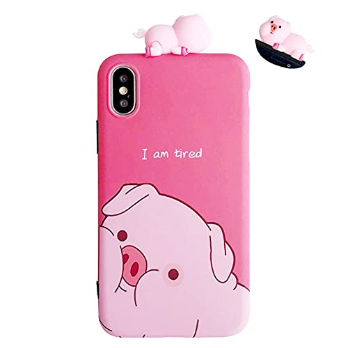 UnnFiko Piglet Phone Case Compatible with iPhone 7/ iPhone 8, Cute 3D Cartoon Animal Soft Silicone Protective Case for Girls Women (Tired Pig, iPhone 7/8)