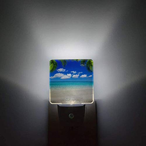 Blueocean - Paquete de 2 luces de noche con sensor automático que se conectan a la pared,un árbol de Navidad lleno de regalos de Navidad,pasillo de baño,decoración brillante,luces de noche cuadradas