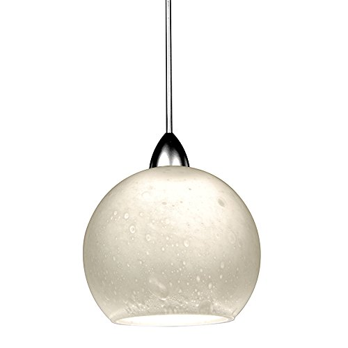 WAC Lighting MP-LED599-WT/CH Rhea 5W 12V 3500K LED MonoPoint Pendant with White Art Glass Shade, Chrome Finish