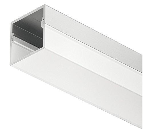 Gedotec Aluminium-Profil LED-Unterbau-Profil 2500 mm Profilleiste für LED-Streifen Beleuchtung | Alu silber eloxiert | Streuscheibe milchig transparent | 1 Stück - Einbauprofil inkl. 1 Paar Endkappen