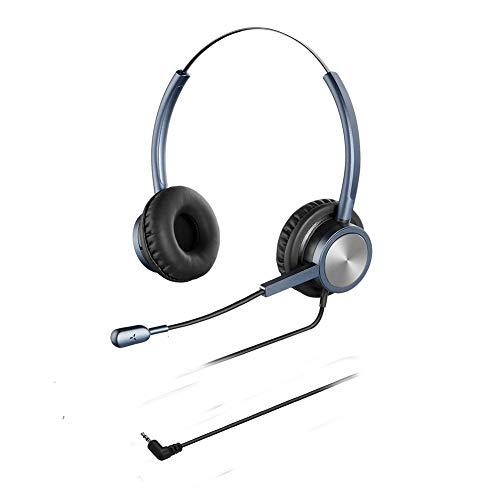 Oppetec Auriculares telefóno de 2,5 mm con micrófono compatibles con teléfonos fijos e inalámbricos de Yealink Avaya Panasoinc Polycom Cisco.