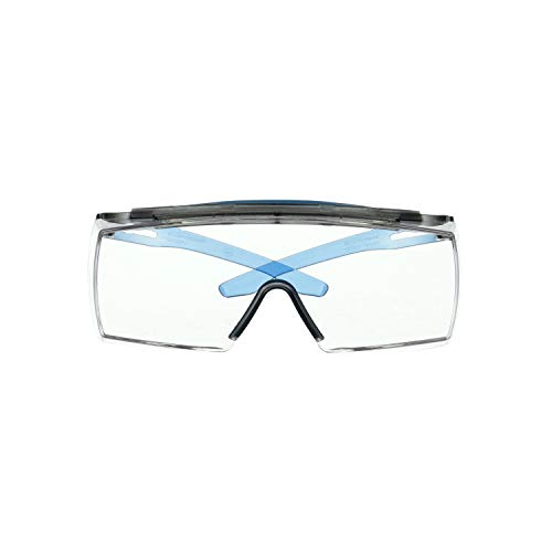 3M Safety Glasses, SecureFit, Fits Over Prescription Glasses, ANSI Z87, Scotchgard Anti-Fog Anti-Scratch Clear Lens, Blue Frame