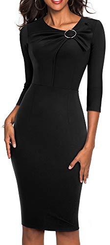 HOMEYEE Women's 3/4 Sleeve V-Neck Kink Sheath Form Fitting Church Dress B481