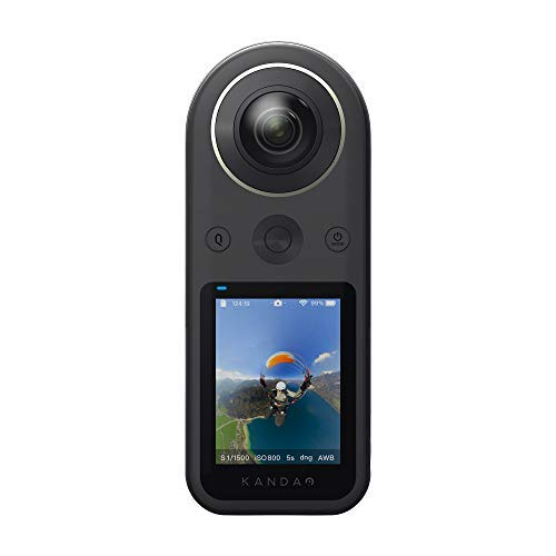 Kandao QooCam 8K Full View Camera Full HDR Outdoor/Indoor Digital Camera with 5G Support Sport Action Camera with F2.0 1/1.7 8K 360 Degree VR Camera with WiFi & USB for Live Camcorder, Video Recorder