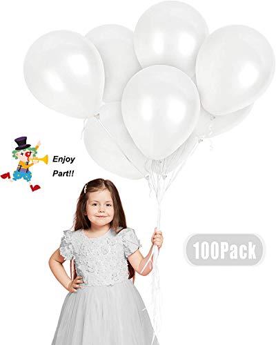 JIASHA 100 Stück Latex Ballon ,Luftballons Hochzeit,Latex Glitter Ballons,Heliumluft Ballons Party Ballons für Hochzeit Geburtstagsparty Babyparty Valentinstag Dekoration (Weiß)