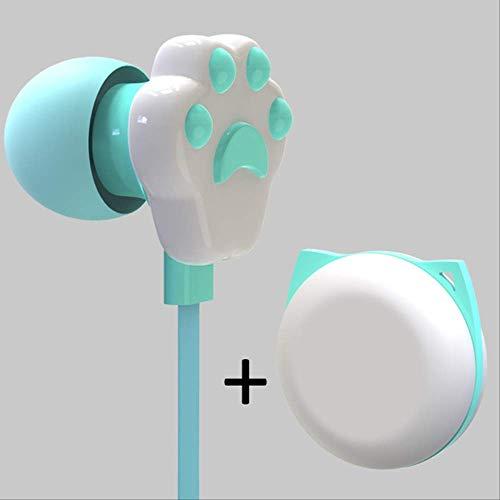 kjzn Hoofdtelefoon Kinden Oortelefoon Leuke Cartoon Kat Paw 3,5 Mm In-Ear Oortelefoon Met Roterende Case Met Microfoon B Groen