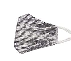Silver Sequin Glitter Cotton Masks Filter Pocket and Filter Included