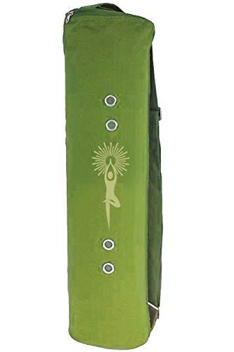 Meru Yoga Mat Bag - The Original Smart Yoga Bag Design – Natural Cotton Canvas Yoga Mat Carrier. Quality Yoga Mat Holder Green