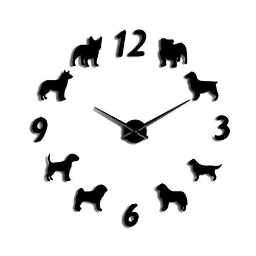 HYY-YY Große Wanduhr für verschiedene Hunderassen, für Hundeliebhaber, Haustierbesitzer, Heimdekoration, große Wanduhr, modernes Design, DIY Welpen, Schwarz