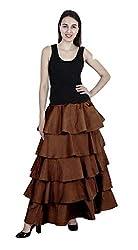 FATMA BOUTIQUE Stylish Solid TAPETA Silk Ruffle Skirt