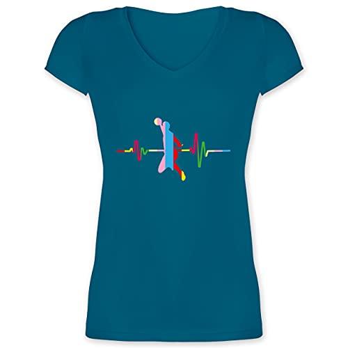 Handball - Bunter Herzschlag Handball Mann - XS - Türkis - Hobby - XO1525 - Damen T-Shirt mit V-Ausschnitt