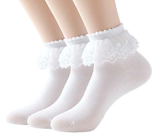 SRYL Women Ankle Socks,Lace Ruffle Frilly Cotton Socks Trim Double Layer Lace,Princess Socks Dress Socks (3 pairs - White)