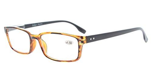 Eyekepper Klassische Qualitätslesebrille rechteckige Fassung mit Federscharnier in Schwarz-Bernstein+2.00