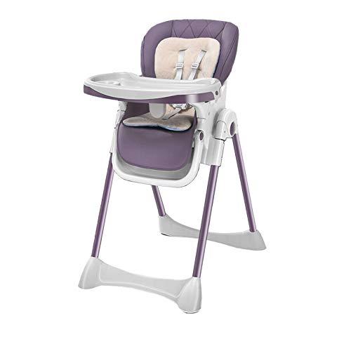 NSWDC Trona para bebé, Trona para bebé/con Bandeja Doble extraíble y arnés de Seguridad de 5 Puntos/Respaldo reclinable y Plegable,Púrpura