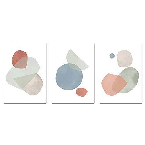 YQQICC Acuarela elíptica forma redonda lienzo abstracto pintura cartel e impresión cuadro de arte de pared para decoración de sala de estar - 45x60cmx3 sin marco