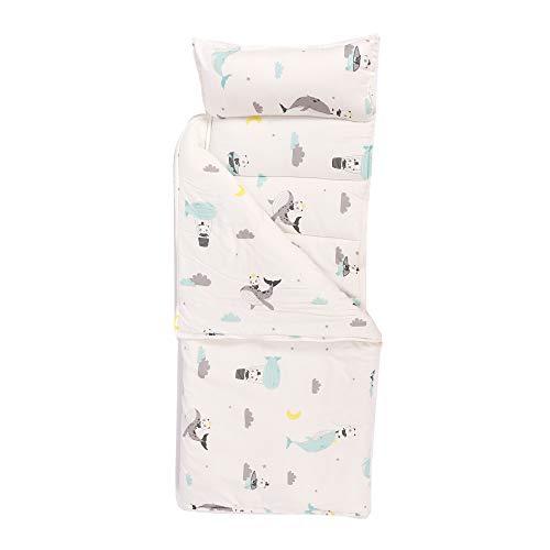 HB.YE Baby Kinder Schlafsack mit Reißverschluss und Kissen Kindergarten Steppdecke Deckenschlafsack oder Mumienschlafsack Mittagspause Sommer Coole Steppdecke Cartoon Tier (Weiß)