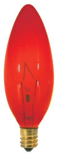 Satco S3219 25 Watt B9.5 Incandescent 120 Volt Candelabra Base Light Bulb, Transparent Red