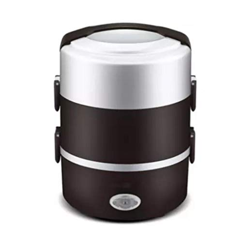 2L 3 Couche Portable Lunch Box Mini Cuiseur À Riz Électrique Vapeur Repas Chauffage Thermique Automatique Récipient Alimentaire Réchauffeur Récipient De Cuisson (Couleur : Café)