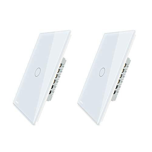LIVOLO Light Switch((No Neutral)), Tempered Glass Panel Touch Light Switch with Indicator Light, Modern Wall Touch Switch, 1 Gang 1 Way, White,Single Pole Switches,2 Pack,C501-11-2P