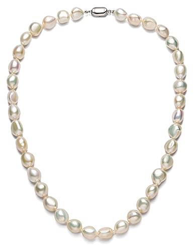 Jsmhh Collar de Perlas barrocas para Mujeres 9-10mm AAAA Collar de Cadena de Perlas cultivada de Agua Dulce con Cierre de Plata esterlina 18'Longitud de la Princesa