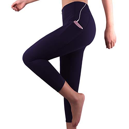 GRAT.UNIC Sport Leggings Damen, 3/4 Yoga Sporthose,Fitnesshose mit Taschen,Yogahosen,Damen Capri Leggings,Hohe Taille Schwarz Stretch Workout Fitness Jogginghose (Blau 3/4, S)