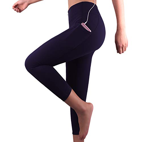 GRAT.UNIC Sport Leggings Damen, 3/4 Yoga Sporthose,Fitnesshose mit Taschen,Yogahosen,Damen Capri Leggings,Hohe Taille Schwarz Stretch Workout Fitness Jogginghose (Blau 3/4, M)
