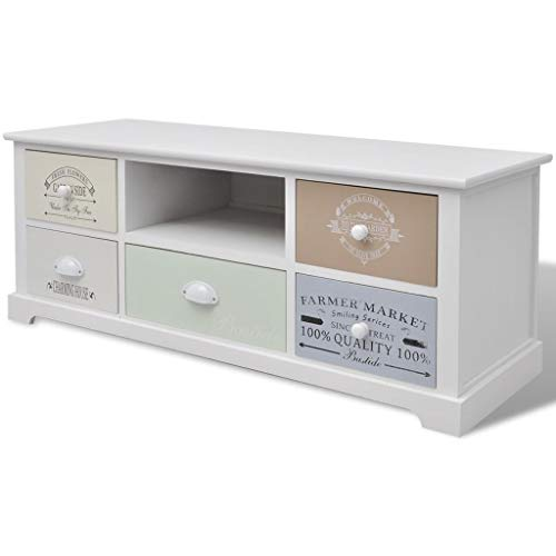 mewmewcat TV Stand Classic French Vintage Country-style Cabinet with Changable Painted Drawers 100 x 35 x 40 cm Wood