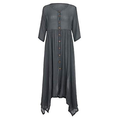 2019 Fashion!Women Linen Maxi Dress Plus Size Loose Bohemian Solid Button Cardigan Sundress Gray by Leewos