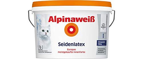ALPINA Alpinaweiß Seidenlatex 1 Liter strapazierfähige Latexfarbe Wandfarbe Weiß Seidenglanz