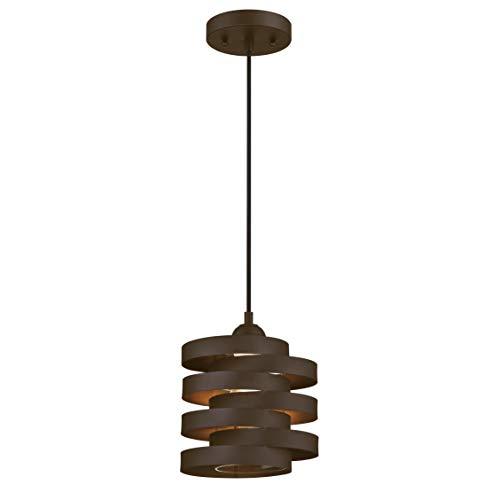 63693 Einflammige Pendelleuchte von Westinghouse Lighting für Innenbereiche, Ausführung in geölter Bronze mit Klarglas