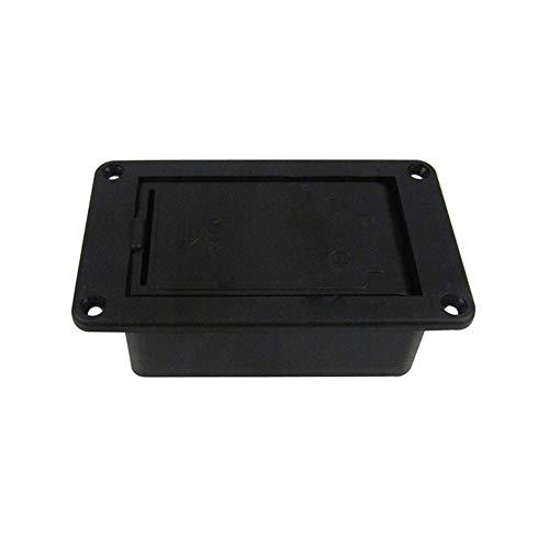 E-Gitarren-Batterie-Kasten-Platz Batterie Muster 9V-Batterie-Kasten Gitarren-Bass Batteriefach Musikinstrumententeile (Color : Black)