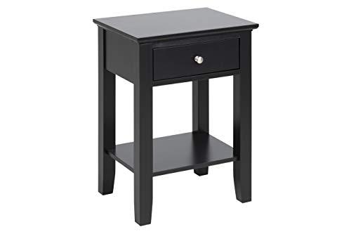 AC Design Furniture Flower sängbord, svart, MDF, B: 45 x H: 62,8 x T: 34 cm, 1 st.