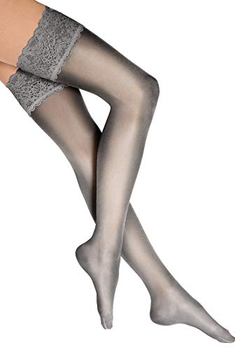 Wolford Damen Satin Touch 20 Stay-Up 20 DENIER steel S