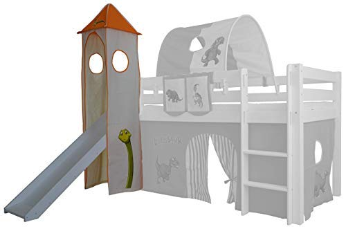 Dungeon tower for raised bed bunk Mid height Mezzanine with Tobacco Fabric Cotton Orange/Blanc Dinosaure