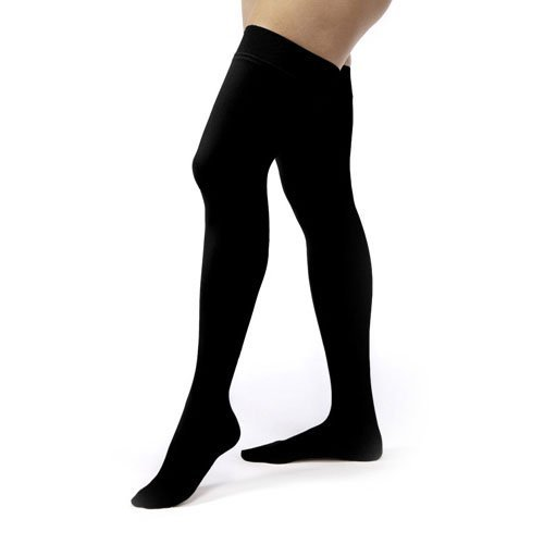 JOBST Relief 20-30 mmHg Compression Socks, Thigh High with Silicone Band, Black, Medium