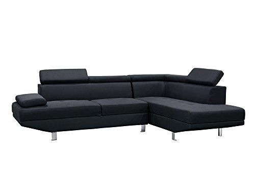 Canapé d'angle 5 places Noir Tissu Design Confort