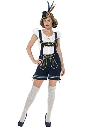 Smiffys Costume traditionnel Bavaroise Deluxe, Bleu, avec culotte bavaroise et haut