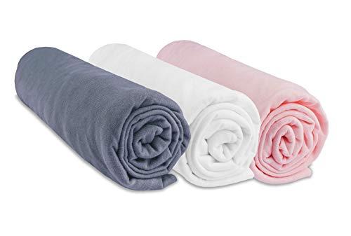 Lot de 3 draps housse Coton 40x80 / 40x90 cm pour lit bébé, berceau, nacelle - Gris Blanc Rose (marque Easy Dort)