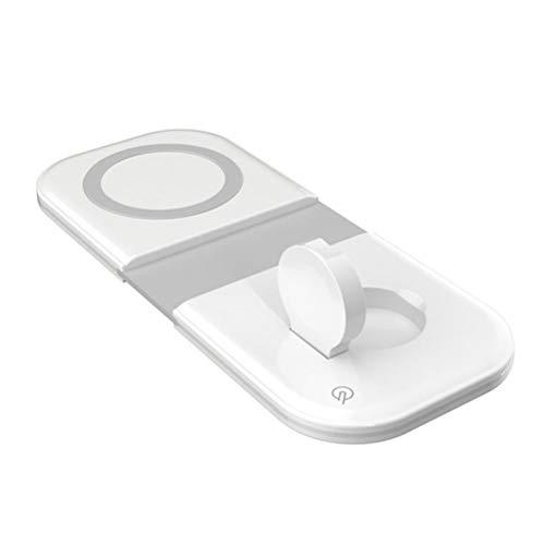 Cargador de teléfono móvil, Cargador inalámbrico, Compatible con iPhone 12 Cargador Dual magnético Plegable 2 en 1, Blanco 15W