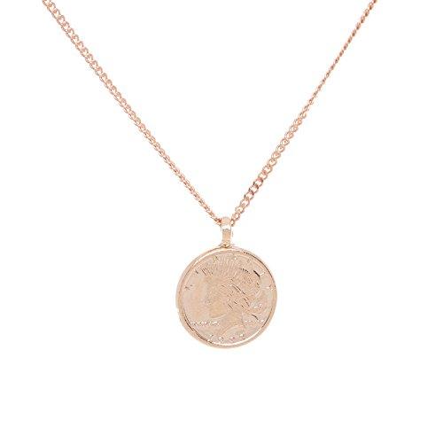 Tom Shot Damen-Halskette MÜNZE beidseitig geprägt Messing in 18 Karat Rosé Vergoldung Kettenlänge 40 cm + 6 cm Verlängerung - 79ke3213g