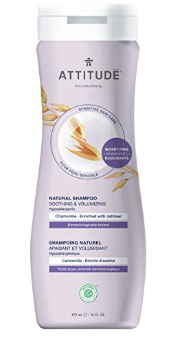 ATTITUDE Natural Shampoo for Sensitive Skin, Soothing & Calming Shampoo, Ideal for Dry, Itchy and Sensitive Scalp, Enriched with Oatmeal, Chamomile, 16 Fl Oz (Packaging May Vary)