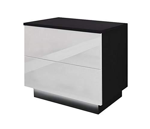 Bingo-Shop Nachttisch LED Nachtkommode Hochglanz Nachtschrank Beleuchtung Nachtkonsole 55 x 37 x 49 cm Schwarz-Weiß Schlafzimmer LED-Beleuchtung 2 Schubladen Push to Open V111