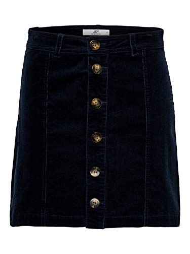 JDY Damen Mini Rock aus feinem Cord Skirt Retro JDYERA, Farben:Navy, Größe:34
