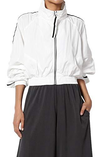 TheMogan Junior's Stripe Zip Up Funnel Neck Crop Shell Jacket Windbreaker White L