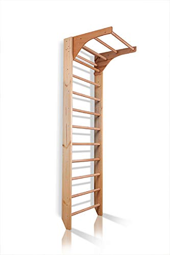 CleverWood Wooden Swedish Ladder, Stall Bars Set for Physical Therapy & Gymnastics (with Adjustable Pull-up Bar)