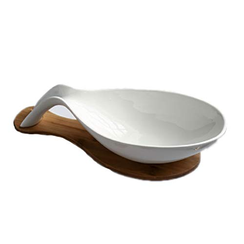 WUHUAROU Plato de vajilla Blanco Plato de Aperitivos Plato de Fruta de cerámica Plato de Ensalada de Verduras para el hogar Cuenco de Postre de Sala de Estar Bandeja de Madera de bambú